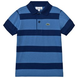 Lacoste Blue and Navy Wide Stripe Jersey Polo