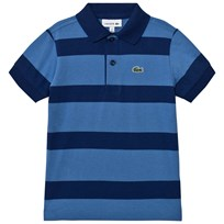 Lacoste Blue and Navy Wide Stripe Jersey Polo TFS