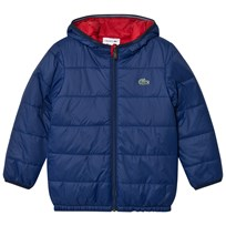 Lacoste Navy and Red Reversible Hooded Puffer QRP