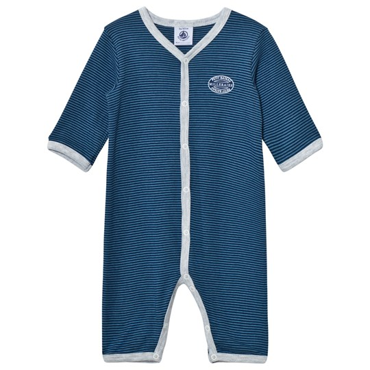 Petit Bateau Blue Striped One-Piece Blue