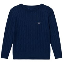 Gant Evening Blue Cable Crew Sweater 433