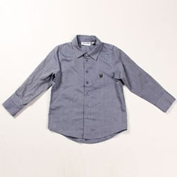 Mini Rodini Robot Shirt Blue Melange