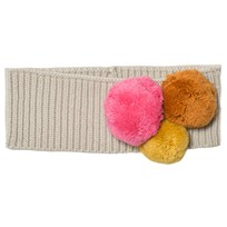 Il Gufo Beige and Multi Pom Pom Knit Headband 1328