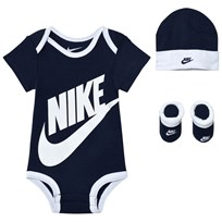 NIKE Obsidian Futura Logo Body, Hat and Booties Gift Set 695 OBSIDIAN