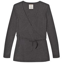 Mom2Mom Wrap Top Grey Melange Black