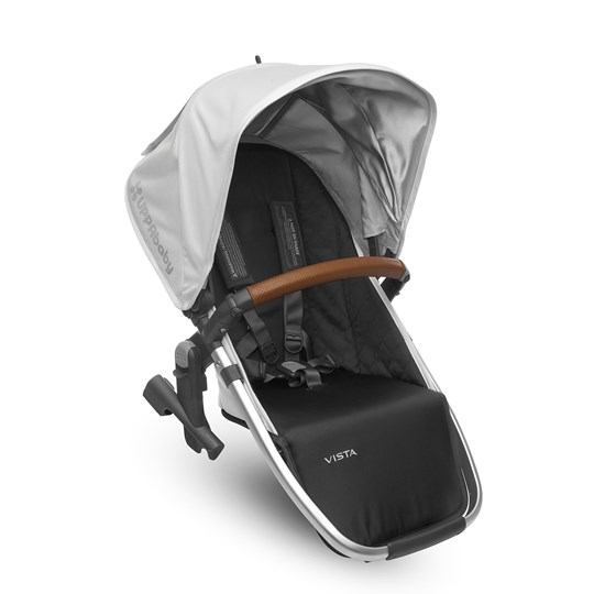UPPAbaby Vista Rumble Seat Loic (White) - Silver Frame With Leather Silver