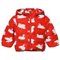 Stella McCartney Kids Red Swan Print Hubert Puffer Coat 6565