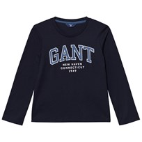 Gant Navy and Pink Logo Long Sleeve Tee 433