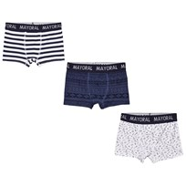 Mayoral Set of 3 Navy Striped and Printed Boxers 66
