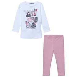 Mayoral Pink and Off White Girl Print Tunic and Legging Set