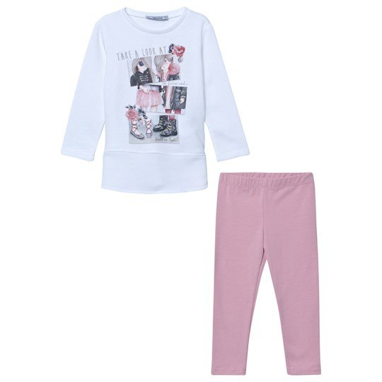 Mayoral Pink and Off White Girl Print Tunic and Legging Set 68