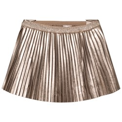 Mayoral Champagne Pleated Pleather Skirt