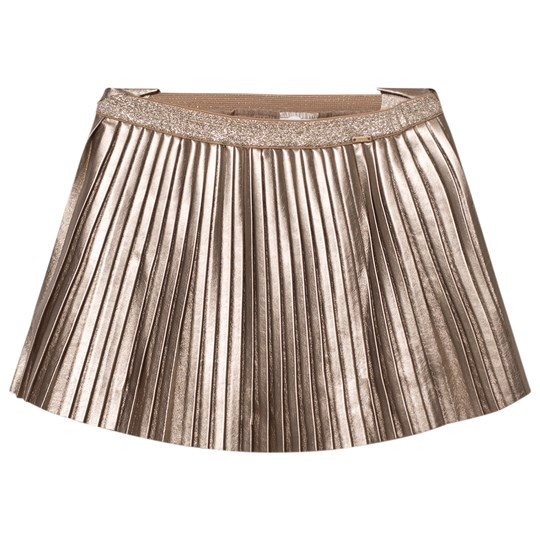 Mayoral Champagne Pleated Pleather Skirt 90