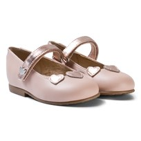 Mayoral Pink and Copper Heart Applique Leather Mary Janes 23
