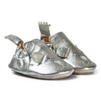 Easy Peasy Pewter Leather Teddy BluBlu Shoes with Anti Slip Sole 070