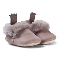 Easy Peasy Grey Ecorce Shearling Crib Booties 017