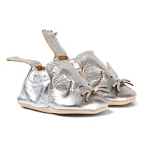 Easy Peasy Silver Metallic Mouse Blumoo Crib Shoes 042