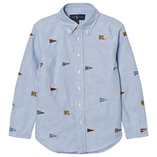 Ralph Lauren Embroidered Flag Skjorta Blå 001