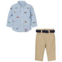 Ralph Lauren Blue Schiffli Shirt and Khaki Chinos Set 001