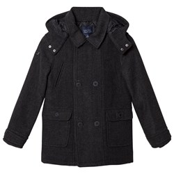 Mayoral Grey Flannel Hooded Coat