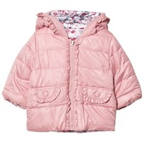 Mayoral Pink Reversible into Floral Puffer Coat 96