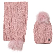 Mayoral Pink Chunky Knit Hat and Scarf Set 58