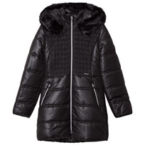 Mayoral Black Long Line Hooded Puffer Coat 61