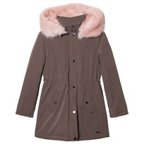 Mayoral Khaki Padded Parka with Pink Faux Fur Hood 42