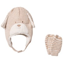 Mayoral Beige Bear Hat and Mittens Set 60