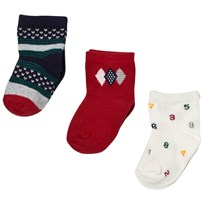 Mayoral Set of 3 Navy, White and Red Patterned Socks 43