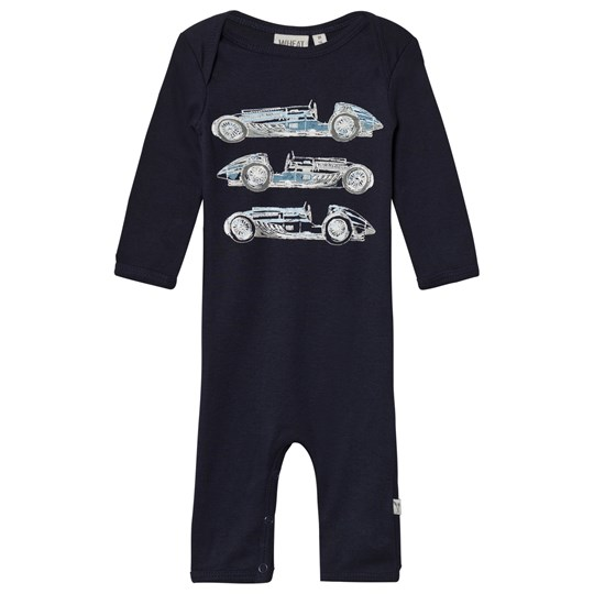 Wheat Baby One-Piece Print Navy Marinblå