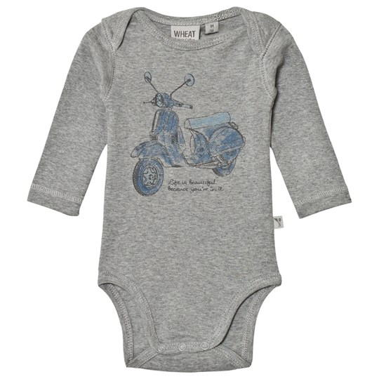 Wheat Baby Body Print Melange Grey Melange Grey