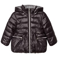 Mayoral Black and White Houndstooth Reversible into Black Padded Coat 41