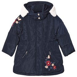 Mayoral Navy Floral Embroidered Hooded Coat