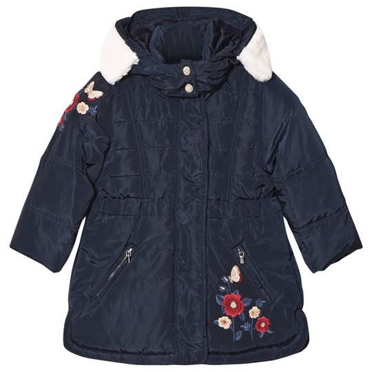 Mayoral Navy Floral Embroidered Hooded Coat 48