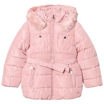 Mayoral Pink Padded Hooded Coat with Waist Tie 94