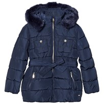 Mayoral Navy Padded Hooded Coat with Waist Tie 97