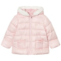 Mayoral Pink Reversible Coat with Faux Fur Lined Hood 93