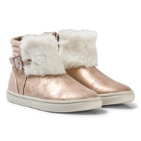 Mayoral Pink Shimmer Faux Fur Cuff Boots 39