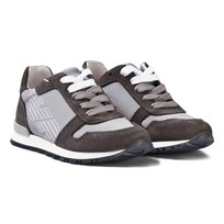 Armani Junior Grey Logo Suede Laced Trainers 00249