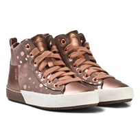 Geox Rose Gold Spot Jr Kalispera Lace and Zip Trainers C8025