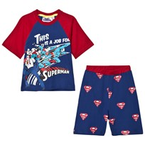 Fabric Flavours Blue and Red Superman Comic Pyjamas Blue &Red