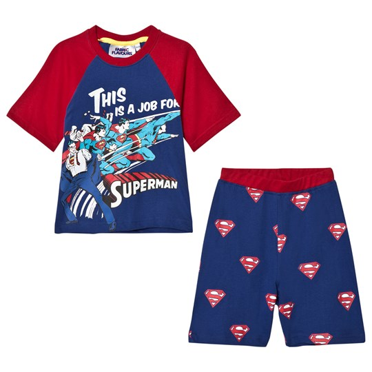 Fabric Flavours Blue/Red Superman Comic Pyjamas Blue &Red