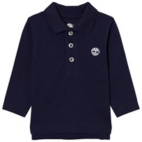 Timberland Navy Branded Long Sleeve Pique Polo 85T