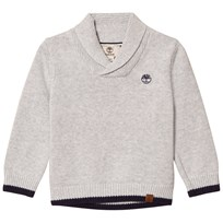 Timberland Grey Shawl Collar Branded Jumper A32