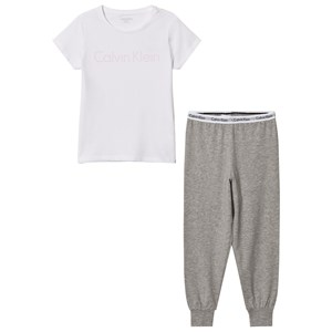 Image of Calvin Klein White Branded Tee Sweat Pants Set 4-5 years (2743814579)