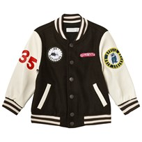 Stella McCartney Kids Black and White Badge Donald Varsity Jacket 2470