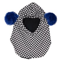 BANG BANG Copenhagen Black/White Check Teddy Ear Balaclava Black