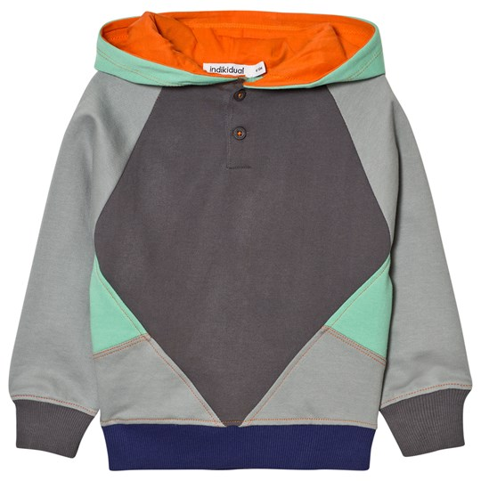 Indikidual Grey Color Patches Hoodie Sort
