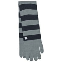 Indikidual Grey Navy Striped Gloves Scarf Black